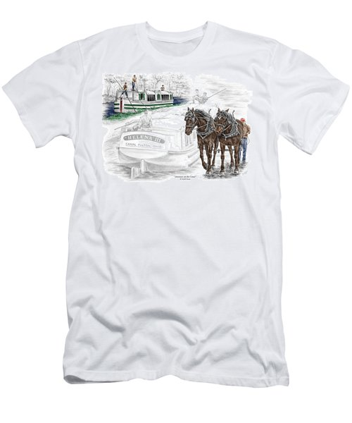 Journeys On The Canal - Canal Boat Print Color Tinted Men's T-Shirt (Athletic Fit)