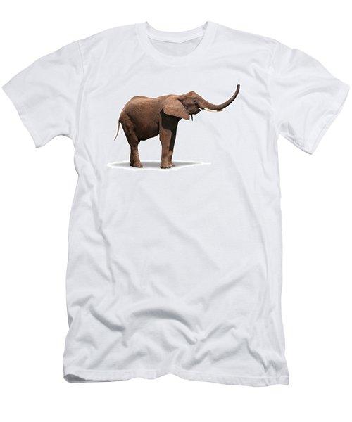 Joyful Elephant Isolated On White Men's T-Shirt (Athletic Fit)