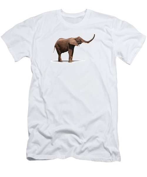 Joyful Elephant Isolated On White Men's T-Shirt (Athletic Fit)