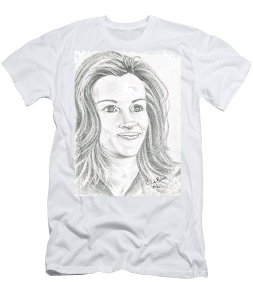 Men's T-Shirt (Slim Fit) featuring the drawing Julia Roberts by Teresa White