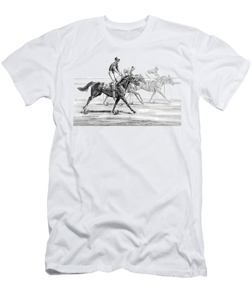 Just Finished - Horse Racing Print Men's T-Shirt (Athletic Fit)