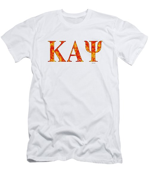 Men's T-Shirt (Slim Fit) featuring the digital art Kappa Alpha Psi - White by Stephen Younts