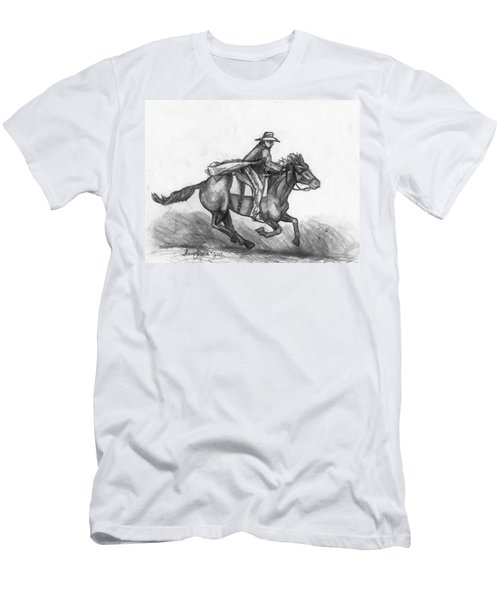 Men's T-Shirt (Slim Fit) featuring the drawing Kickin Up Dust by Shana Rowe Jackson