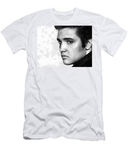 Men's T-Shirt (Slim Fit) featuring the painting King Of Rock Elvis Presley Black And White by Georgi Dimitrov