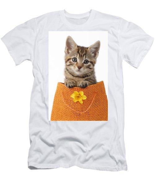 Kitten In Orange Bag Men's T-Shirt (Athletic Fit)