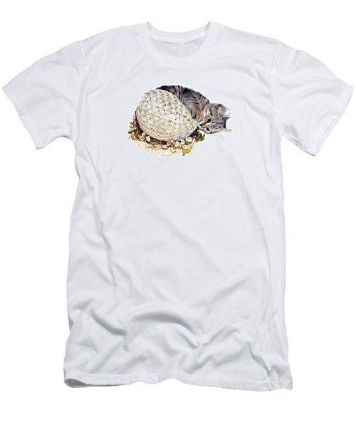 Men's T-Shirt (Slim Fit) featuring the photograph Kitten With An Easter Bonnet by Susan Leggett