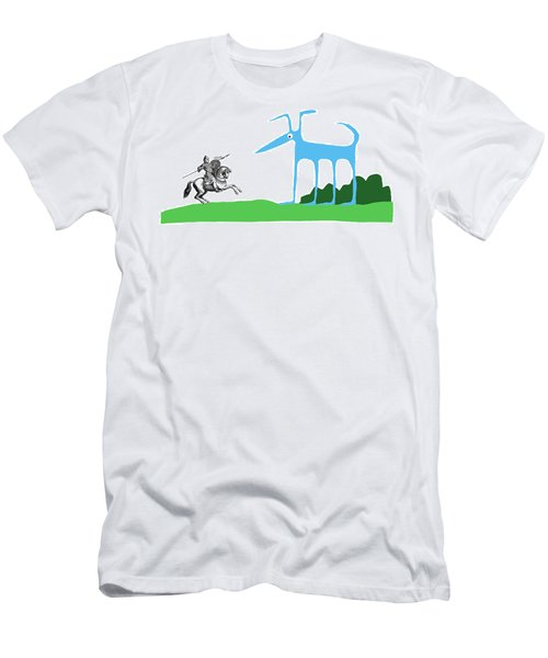 Knight With Armor And Cartoon Dog Facing Each Men's T-Shirt (Athletic Fit)