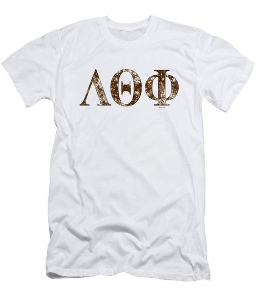 Men's T-Shirt (Slim Fit) featuring the digital art Lambda Theta Phi - White by Stephen Younts