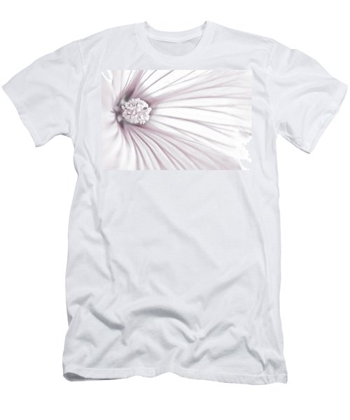 Men's T-Shirt (Slim Fit) featuring the photograph Lavatera Flower Stamen Macro  by Sandra Foster