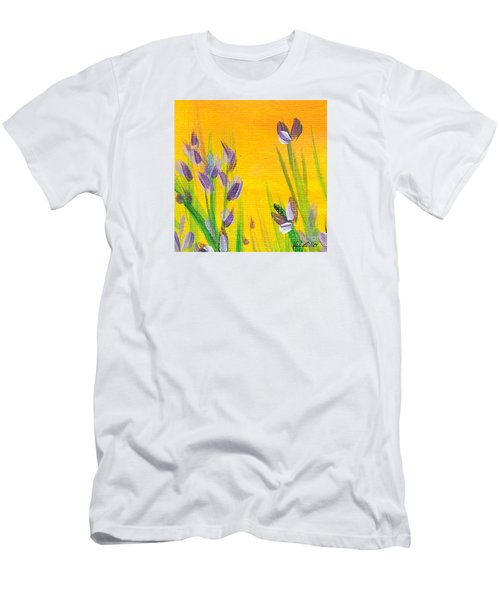 Men's T-Shirt (Slim Fit) featuring the painting Lavender - Hanging Position 1 by Val Miller