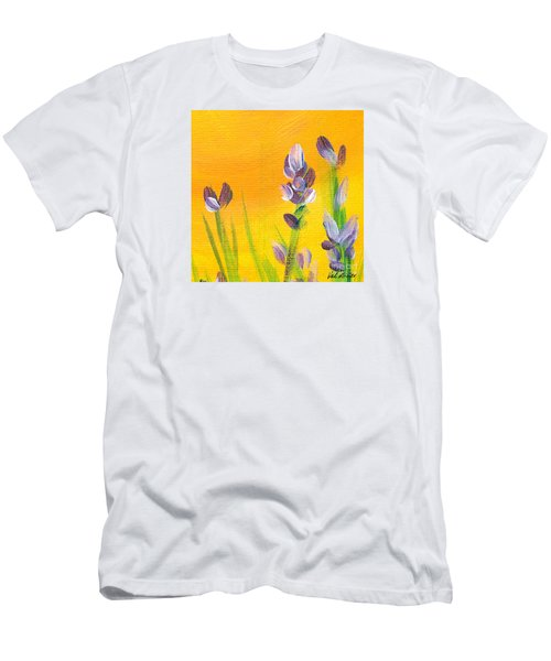 Men's T-Shirt (Slim Fit) featuring the painting Lavender - Hanging Position 3 by Val Miller