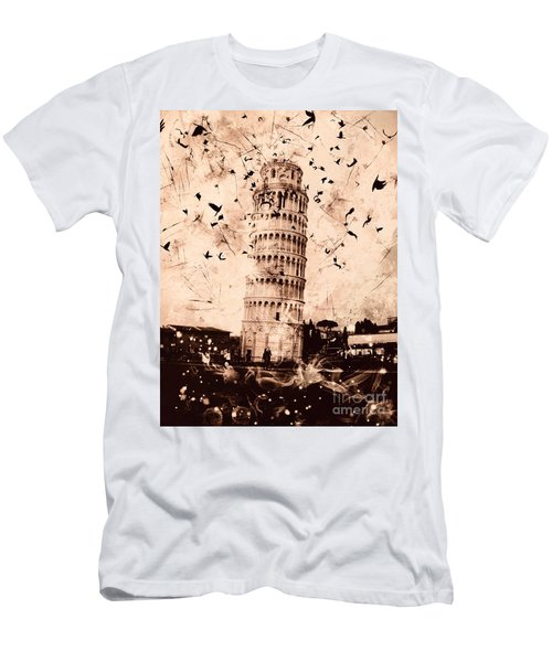 Leaning Tower Of Pisa Sepia Men's T-Shirt (Athletic Fit)