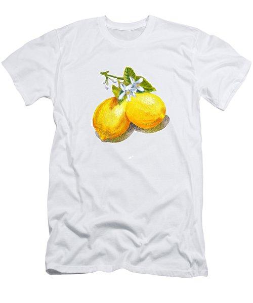 Men's T-Shirt (Slim Fit) featuring the painting Lemons And Blossoms by Irina Sztukowski