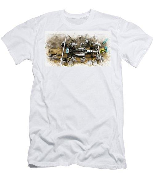 Lewis Hamilton Of Britain Service The Car At Pit Stop Men's T-Shirt (Athletic Fit)