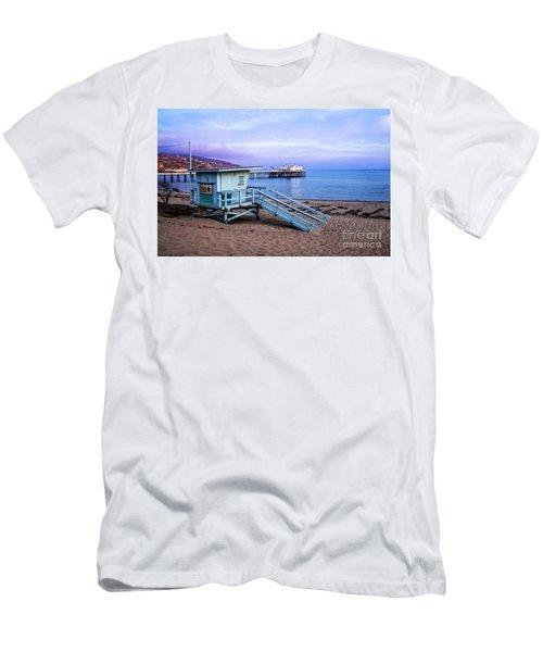 Lifeguard Tower And Malibu Beach Pier Seascape Fine Art Photograph Print Men's T-Shirt (Athletic Fit)