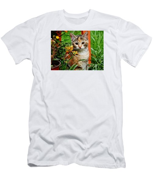 Men's T-Shirt (Slim Fit) featuring the photograph Lily Garden Cat by VLee Watson