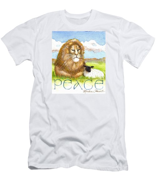 Lion And Lamb - Peace  Men's T-Shirt (Athletic Fit)