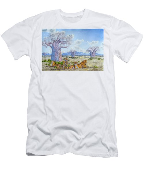 Lions By The Baobab Men's T-Shirt (Athletic Fit)