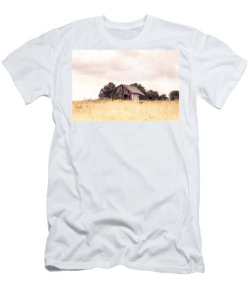 Men's T-Shirt (Slim Fit) featuring the photograph Little Old Barn In A Field - Landscape  by Gary Heller