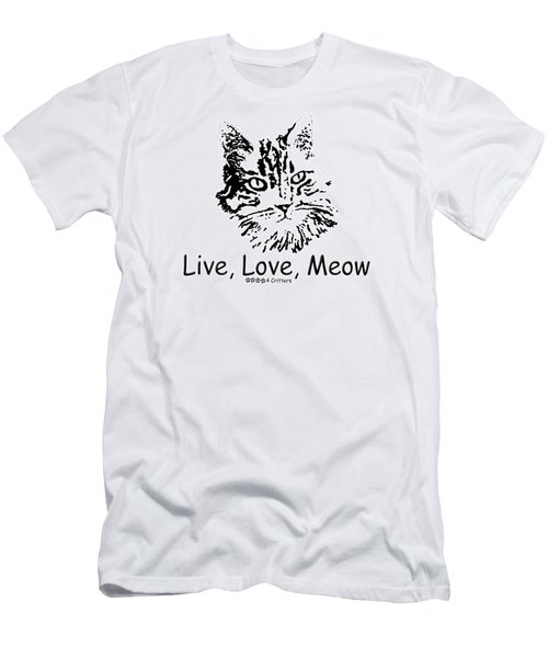 Live Love Meow Men's T-Shirt (Athletic Fit)
