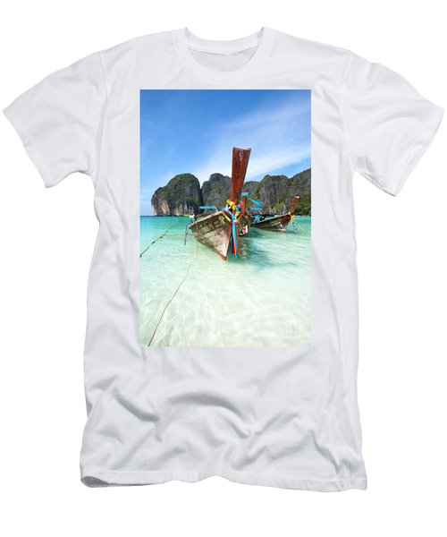 Long Tail Boats At Maya Beach - Ko Phi Phi - Thailand Men's T-Shirt (Athletic Fit)
