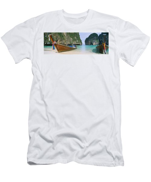 Longtail Boats Moored On The Beach Men's T-Shirt (Athletic Fit)