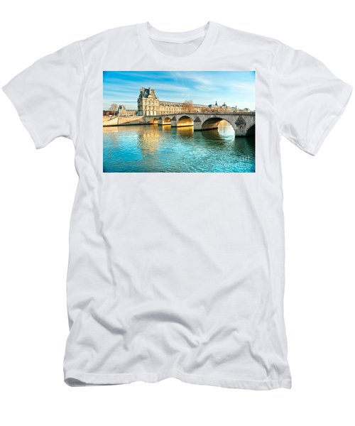 Louvre Museum And Pont Royal - Paris  Men's T-Shirt (Slim Fit) by Luciano Mortula