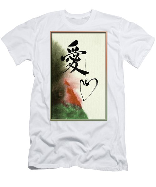 Love Brush Calligraphy With Heart Men's T-Shirt (Athletic Fit)