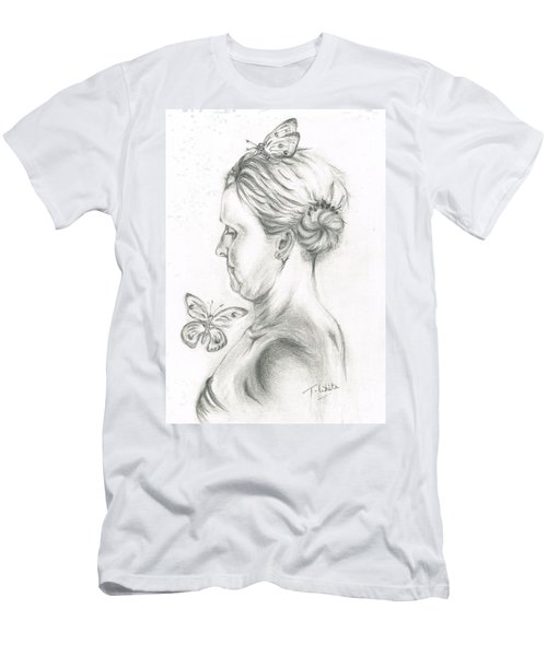 Men's T-Shirt (Slim Fit) featuring the drawing Loves- Her Butterflies by Teresa White