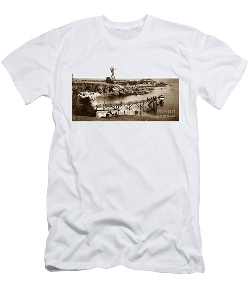 Lovers Point Beach And Old Wooden Pier Pacific Grove August 18 1900 Men's T-Shirt (Athletic Fit)