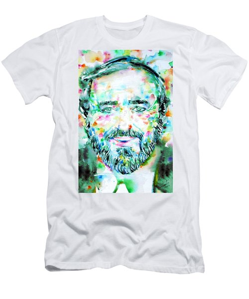 Luciano Pavarotti - Watercolor Portrait Men's T-Shirt (Athletic Fit)