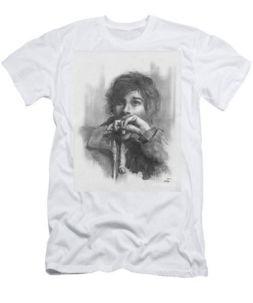 Men's T-Shirt (Slim Fit) featuring the drawing Lucy by Paul Davenport