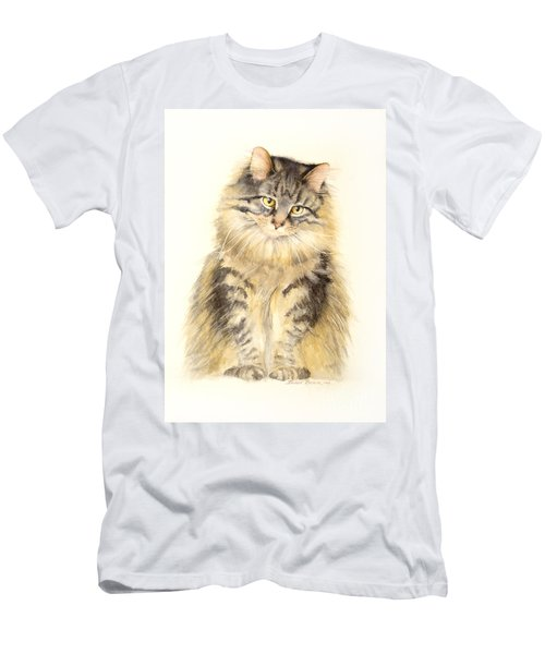 Men's T-Shirt (Slim Fit) featuring the painting Maine Coon Cat by Bonnie Rinier