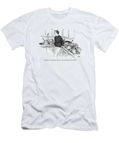 Man In Kitchen Surrounded By Dishes Men's T-Shirt (Athletic Fit)