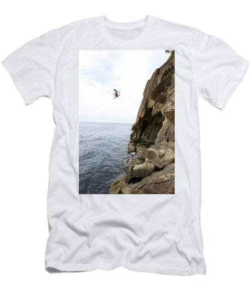 Man Jumping Off A Cliff Into Water Men's T-Shirt (Athletic Fit)