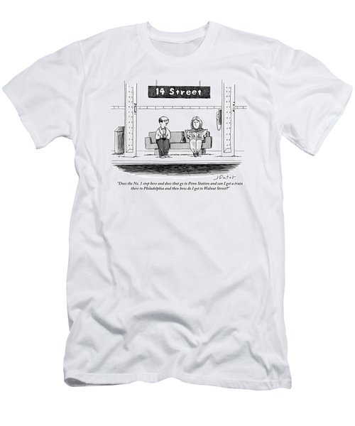 Man Pestering A Woman Who Is Sitting Next Men's T-Shirt (Athletic Fit)