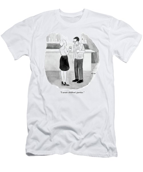 Man Speaks To Woman At Cocktail Party Men's T-Shirt (Athletic Fit)