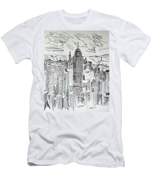 Men's T-Shirt (Slim Fit) featuring the drawing Manhattan by Janice Rae Pariza