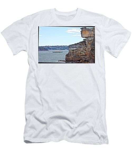 Men's T-Shirt (Slim Fit) featuring the photograph Manly Ferry Passing By  by Miroslava Jurcik