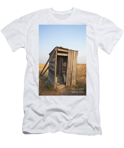 Mannequin Sitting In Old Wooden Outhouse Men's T-Shirt (Athletic Fit)