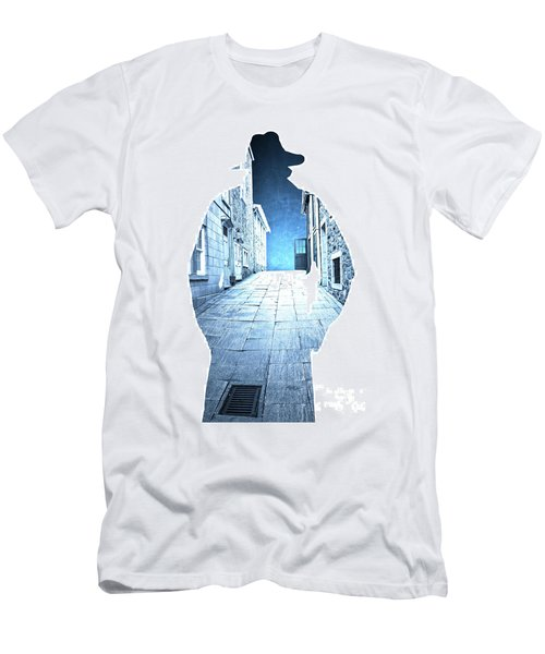 Man's Profile Silhouette With Old City Streets Men's T-Shirt (Athletic Fit)