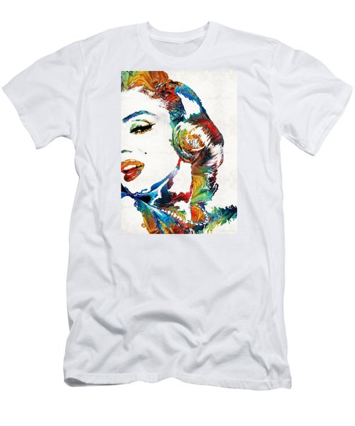Men's T-Shirt (Athletic Fit) featuring the painting Marilyn Monroe Painting - Bombshell - By Sharon Cummings by Sharon Cummings
