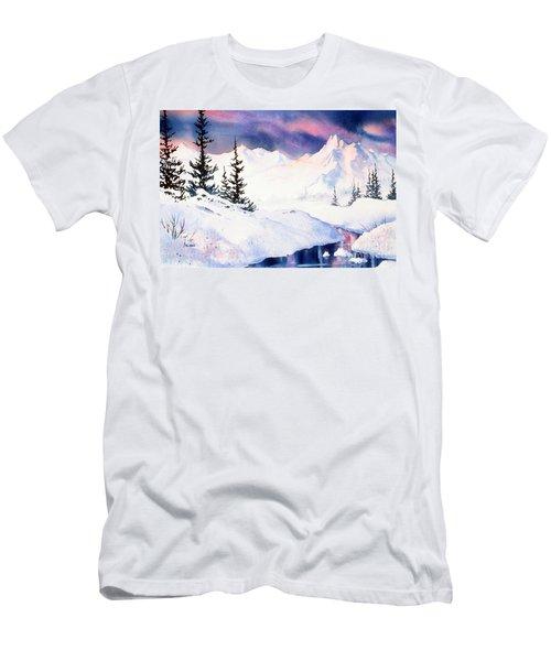 Men's T-Shirt (Slim Fit) featuring the painting Matanuska Sunset Impression by Teresa Ascone