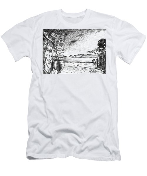 Men's T-Shirt (Slim Fit) featuring the drawing Mediterranean Cat by Teresa White