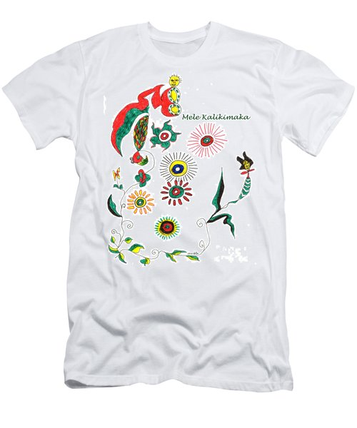 Men's T-Shirt (Slim Fit) featuring the drawing Mele Kalikimaka by Mukta Gupta
