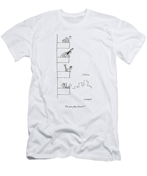 Men Playing Instruments On Different Levels Men's T-Shirt (Athletic Fit)