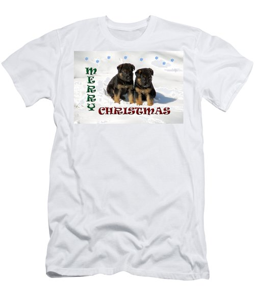 Merry Christmas Puppies Men's T-Shirt (Athletic Fit)