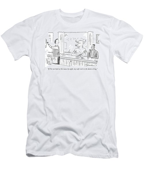 Minotaur At Bar Talking To Bartender Reaching Men's T-Shirt (Athletic Fit)