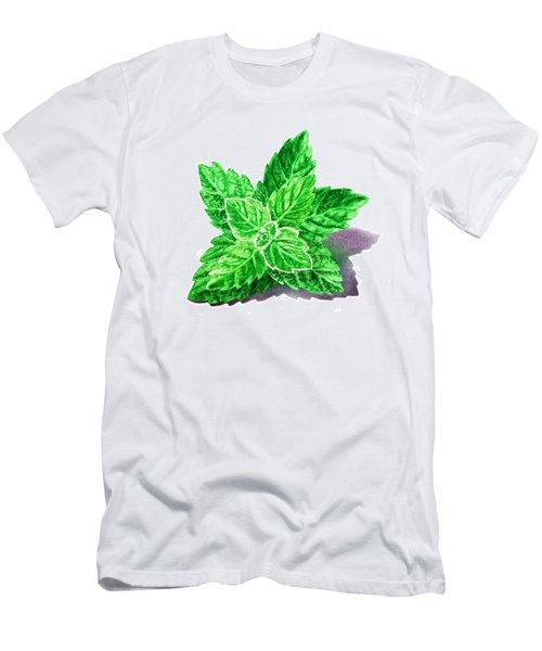 Men's T-Shirt (Slim Fit) featuring the painting Mint Leaves by Irina Sztukowski