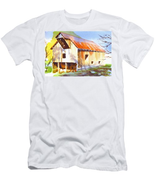 Missouri Barn In Watercolor Men's T-Shirt (Athletic Fit)